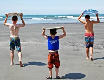 Kids Surfing Skim Boards Seabrook Beach