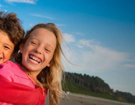 Kids Beach Seabrook Washington Coast Winter