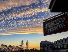 Frontagers sign sparkles in the sunset light at Seabrook