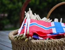 Flags for the Syttende Mai Parade at Seabrook