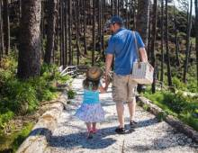 Father and daughter walking together down a beach path at Seabrook