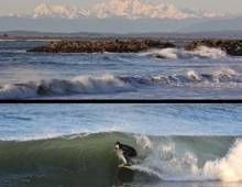 Surfer off the coast of Westport Washington