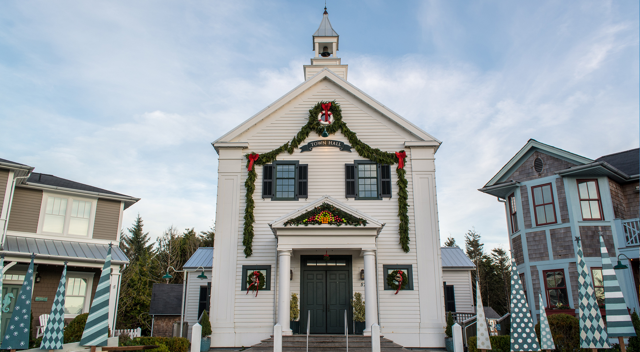 Seabrook's Town Hall during Christmas